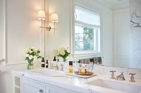 Polished Nickel Bathroom Mirrors by Bryant Sconce Transitional Bathroom