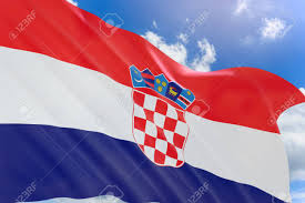China Flag Waving 3d Rendering Of Croatia Flag Waving On Blue Sky Background