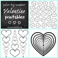 free printable color number valentine pages create