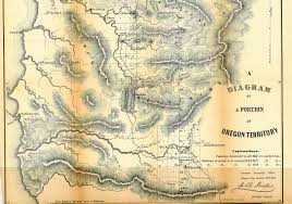 Oregon Country Map by Oregon Land Survey 1851 1855