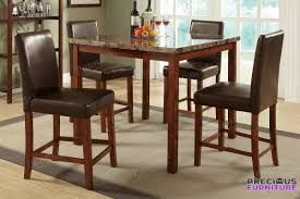 high dining room table f2542 5 piece faux marble counter height dining table set