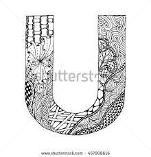 zentangle stylized alphabet letter u doodle stock vector 457908616