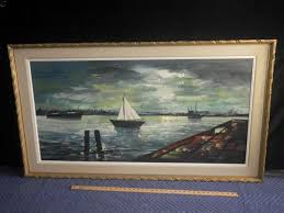 original oil painting of ships in the habor by artist biro gold resin frame