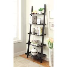 Narrow Black Bookcase by Leaning Wall Shelf Black