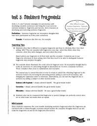 sentence fragments worksheets worksheets