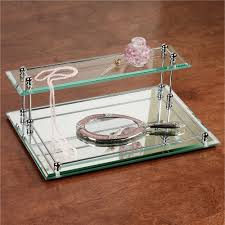 two tier glass mirrored valet vanity tray