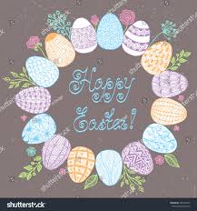 easter wreath easter eggs vector illustration stock vector