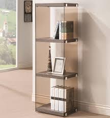 contemporary grey three shelf bookcase glass shelves side panels