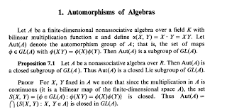 bilinear map abstract algebra difference between aut v and gl v