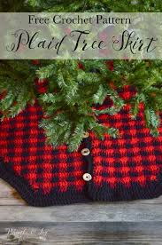 crochet plaid tree skirt whistle and