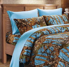 full powder blue camo comforter bed spread only camouflage blanket