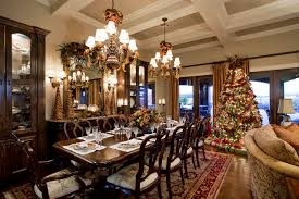 holiday decor coffered ceiling with chandeliers and coastal