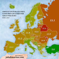 europe map by country amount of consumed per capita by country in europe map