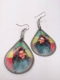 threaded earrings bob marley rasta tam threaded earrings