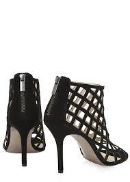 lyst michael kors yvonne black caged suede sandals in black