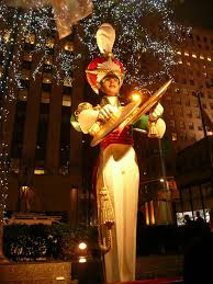 christmas tree and decoration in rockefeller center new york city