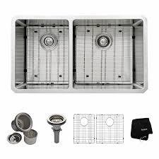 60 Inch Kitchen Sink Base Cabinet by Kraus Khu104 33 33 Inch Undermount 60 40 Double Bowl 16 Gauge