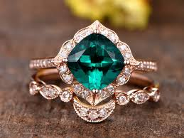 rings emerald images 1 3ct cushion cut treated emerald engagement ring set 14k rose jpg