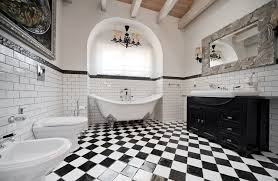 Black And White Checkered Tile Bathroom Classic Country House In Russia With A Sense Of Traditional