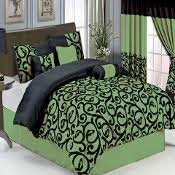 Black And Green Bedding Bed In A Bag Comforter Sets