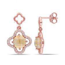 ear pin earrings 3 04 ct tgw citrine and cubic zirconia ear pin earrings silver