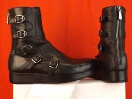 s boots with buckles nib versace black leather belted buckles logo combat platform