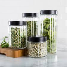 clear canisters kitchen ksp ribbed glass canister with lid set of 4 black clear
