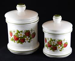 4 sears kitchen country strawberry canister set made in