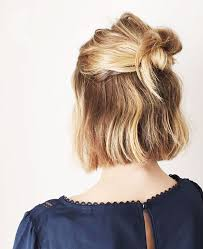 medium length easy wash and wear hairstyles this half up style is perfect for bobbed hair icymi pinterest