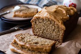 whole wheat banana bread with peanut maple frosting ice cream