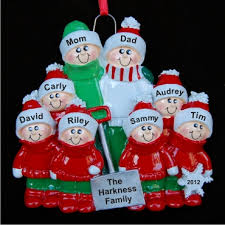 snow shovel family of 8 personalized ornaments by