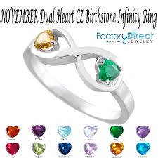 november birthstone jewelry november dual heart cz birthstone infinity silver ring mix stones