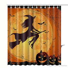 Pumpkin Colored Curtains Decorating 2018 2017 New Skull Pumpkin Shower Curtain Waterproof 3d