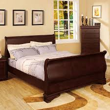 cherry sleigh bed shop furniture of america laurelle dark cherry sleigh bed at lowes com