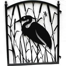 garden fence gate heron metal ornamental iron