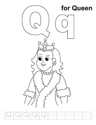 Q For Queen Coloring Page With Handwriting Practice Download Coloring Pages Q