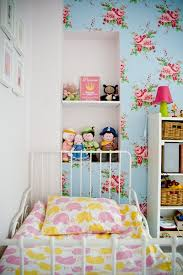 Pink Blue Girls Room Cath Kidston Millie Floral Wallpaper White - Cath kidston bedroom ideas