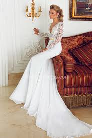 deep v neck chiffon wedding dresses 2017 lace mermaid long