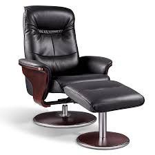 reclining back chair with ottoman relax with this modern black bend wood swivel recliner and ottoman