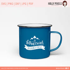 coffee cup silhouette png the mountains are calling svg file for cricut and silhouette