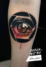 cool human eye in lens on eye