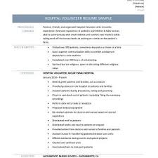 hospital resume exles sle resume hospital volunteer best of 7 volunteering resume
