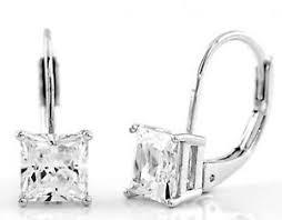 leverback earrings sterling silver cz princess cut leverback earrings 6mm ebay