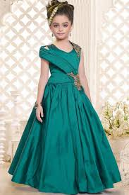 party wear gowns buy fancy teal color silk party wear designer indowestern