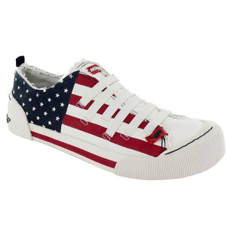 Rocket Dog Joint Usa Flag Patriotic Fashion Sneakers,White,8.5