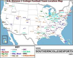 map us colleges division i college football team location map