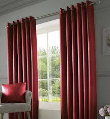 Curtains Ring Top Thermal Lined Luxury Faux Silk Ring Top Curtains Wine