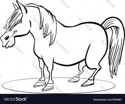 coloring page of funny farm pony horse royalty free vector
