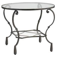 chasca glass top brown round end table pier 1 imports