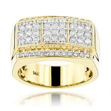 mens gold diamond rings 14k gold designer diamond ring for men by luxurman 0 95ct g h vs si